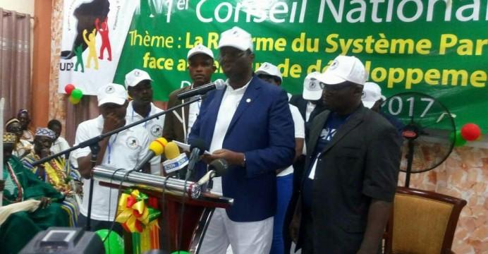 Le député Jean-Eudes OKOUNDÉ président du  parti Forces Unies pour la démocratie et le progrès (FUDP) lors sa déclaration de soutien au PAG et au RAVIP