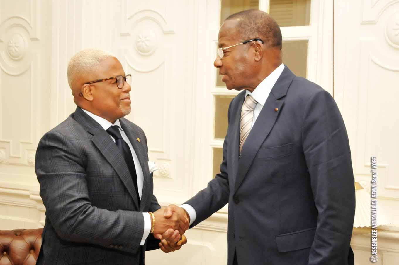 Le Ministre de la Justice Monsieur Sévérin QUENUM reçu en Audience par le Président Adrien Houngbédji
