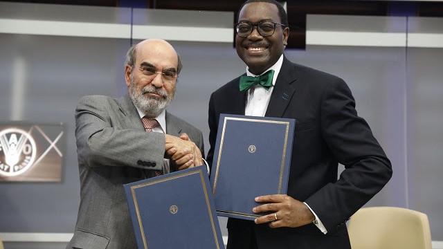 Le président de la Banque africaine de développement Akinwumi Adesina ( à droite) et le directeur général de la FAO, José Graziano da Silva