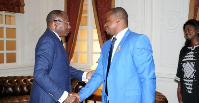 Le président Adrien Houngbédji recevant l'honorable Dissan Bouraïma Youmou,  député Burkinabé, président du Réseau des parlementaires d'Afrique de l'Ouest et d'Afrique Centre pour la sécurité nutritionnelle