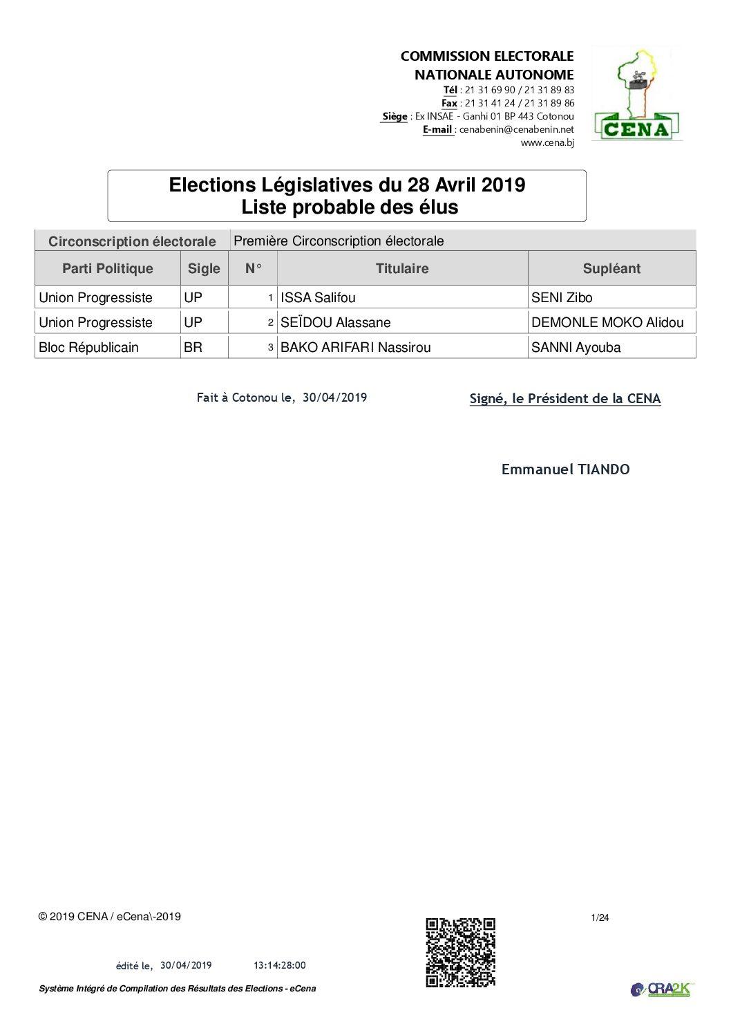 En attendant la Cour Constitutionnelle : La liste des députés élus selon la CENA