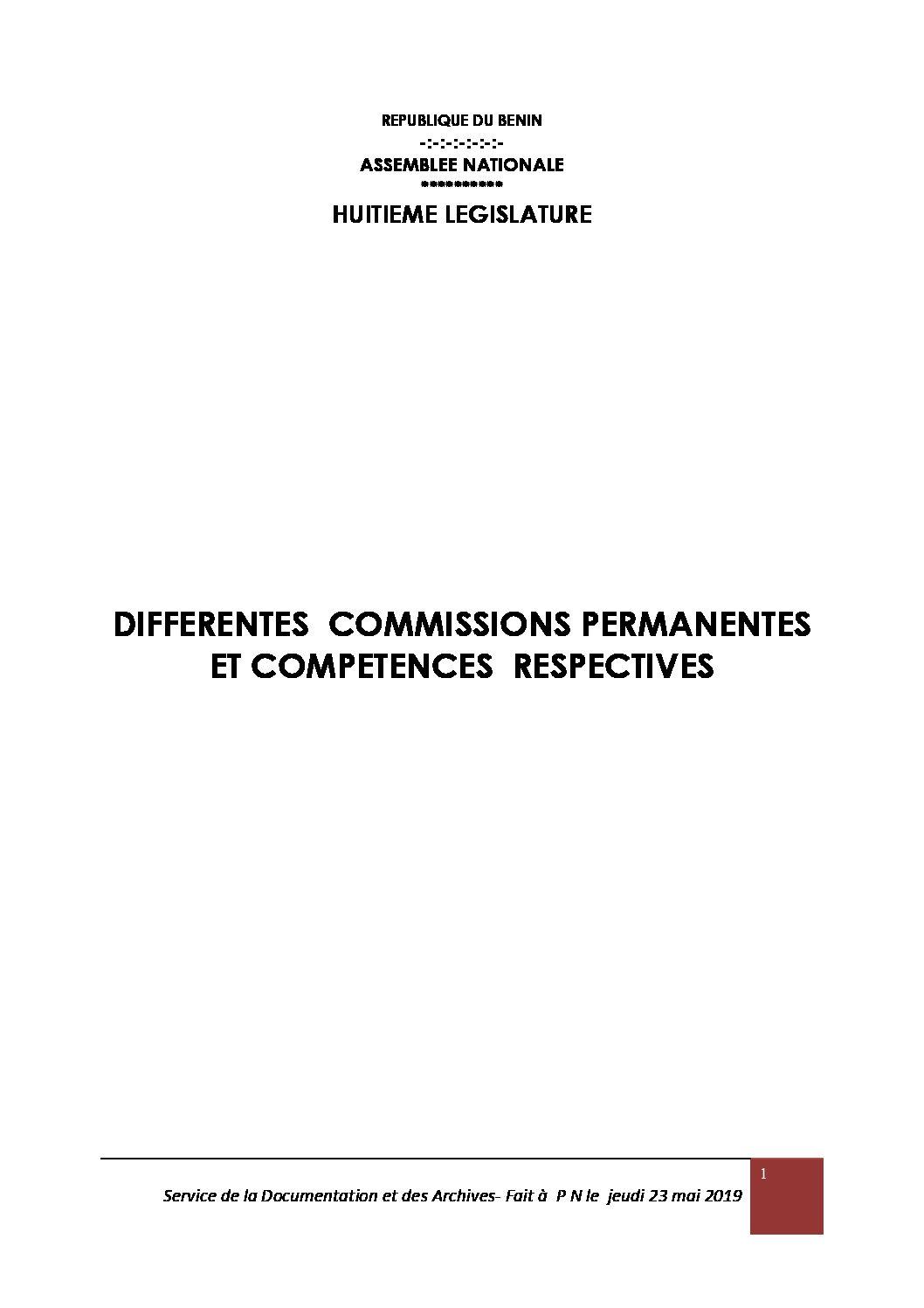 Parlement: Voici les domaines de compétences et les nouvelles compositions des Commissions permanentes