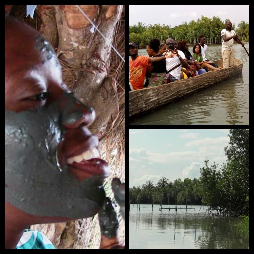 DETOUR PAR GOGOTINKPON À ta disposition et tout près '' La route de l'eau'' et son mythique village aux mille merveilles, Gogotinkpon avec en prime : Conte sur anecdote source de l'appellation Gogotinkpon ; Balade sur la route de l'eau et le Regal des mangroves ;  Atelier de découverte et d'application de l'argile Tôbó de Gogotinkpon ; - Participation à une partie de pêche avec le plus vieil outil des peuples de la région du lac Ahémé ; _ Échanges avec Dada Baïnon, la dame aux mains formatées pour dresser de belles fesses aux bébés ; - Instants cocofrais et dégustation de vin de palme ; - la danse des papilles au goût de atoutou et de dakouin , mets délicieux, mets de Gogotinkpon...