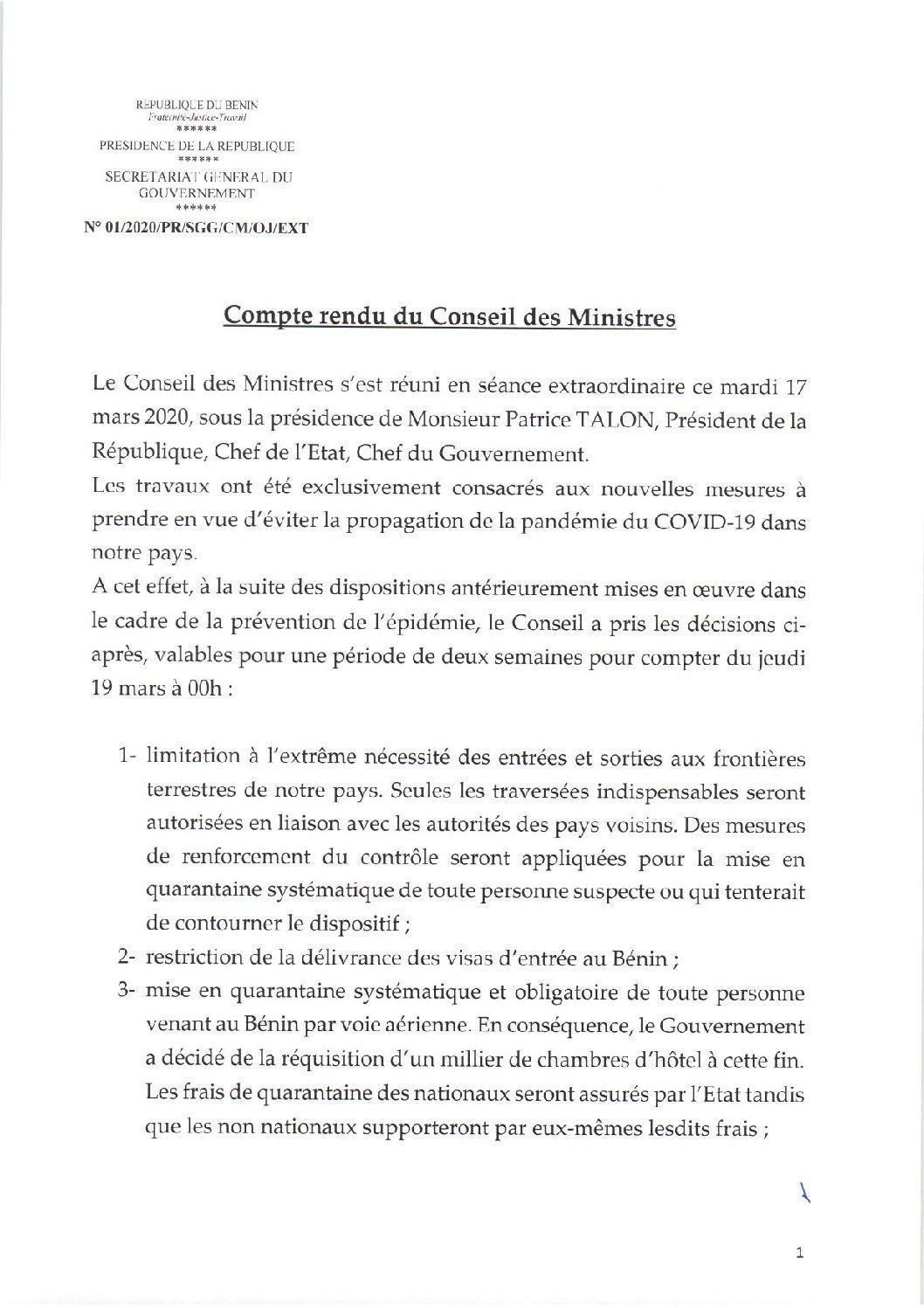 #COVID-19 / #BENIN: LES GRANDES #DÉCISIONS DU #CONSEIL EXTRAORDINAIRE DES #MINISTRES DU MARDI 17 MARS 2020