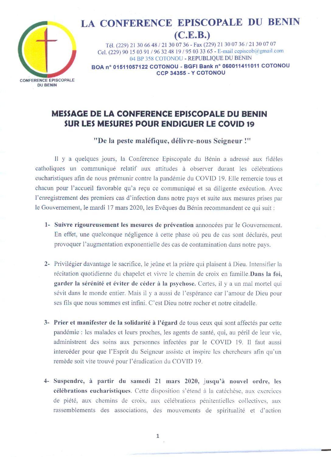 Coronavirus: La conférence épiscopale du Bénin suspend les célébrations eucharistiques à partir du 21 mars jusqu'à nouvel ordre