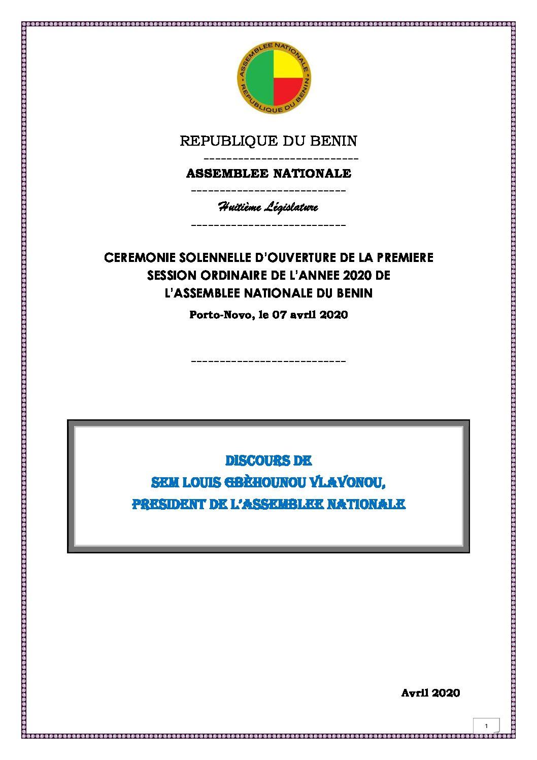 Ouverture de la 1ère session ordinaire 2020 de l'Assemblée nationale : Voici l'intégralité du discours du Président Louis G. Vlavonou