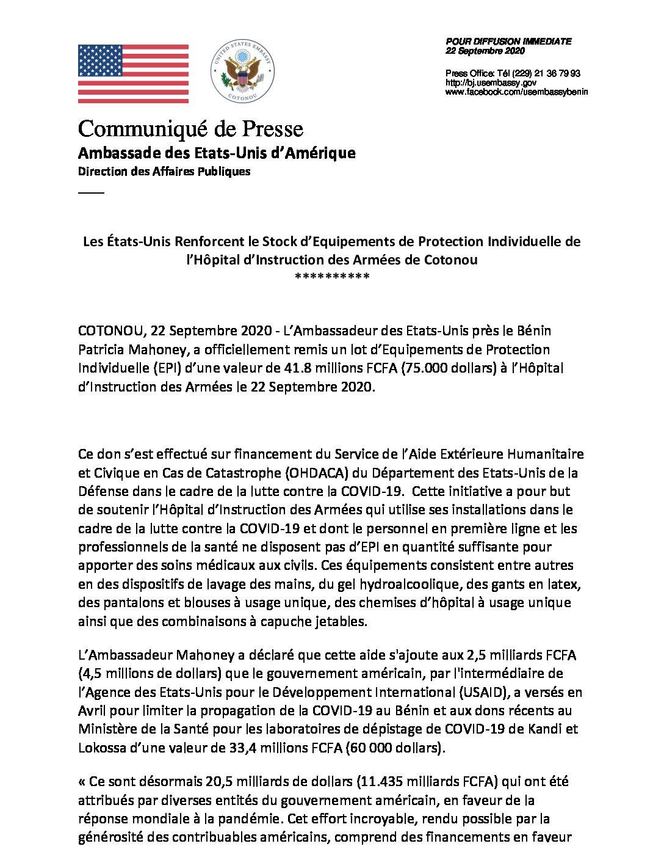 Les États-Unis Renforcent le Stock d'Equipements de Protection Individuelle de l'Hôpital d'Instruction des Armées de Cotonou