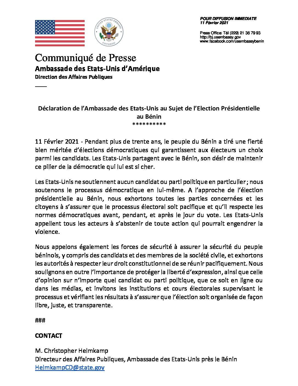 Déclaration au sujet de l'Election Présidentielle au Bénin: Les Etats-Unis appellent tous les acteurs à s'abstenir de toute action qui pourrait engendrer la violence