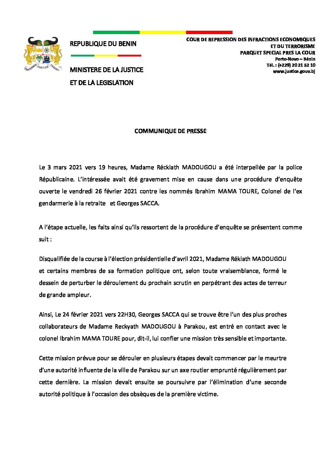 Bénin/Affaire Rekyath Madougou: Les explications du Procureur Spécial de la Criet